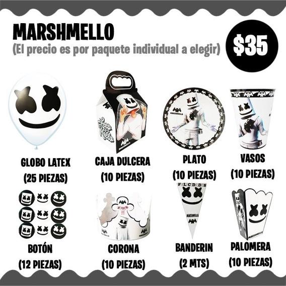 Marshmello Marshmallow Dj Vasos Platos Caja Fiesta Corona
