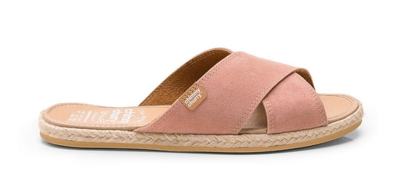 Sandalia Cross Flat Gamuza Rosa - Chimmy Churry
