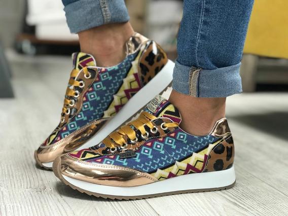 Zapatillas Mujer Rocas Urbanas Sneakers Glitter Combinada
