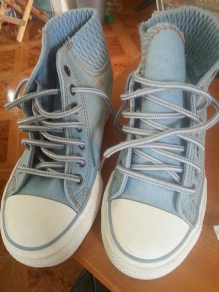 Zapatos Tipo Bota Tela Jean