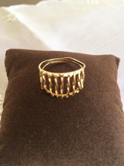 Anel-semi-jóia-banho Ouro 18k-trabalho Antigo ( 1,5 Gramas )