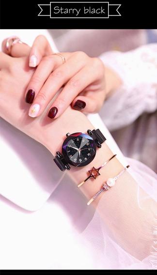 Relógio Luxo Céu Estrelado Feminino Pulseira Imã Magnética