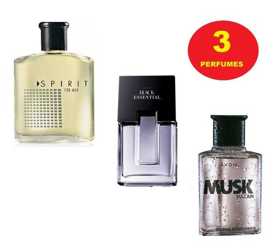 Kit 3 Perfumes Avon: Spirit + Black Essential + Musk Vulcain