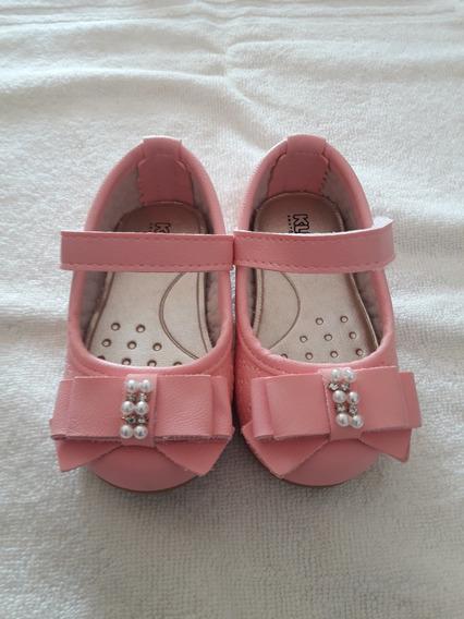 Sapato Bebe Menina Festa Rosa N18