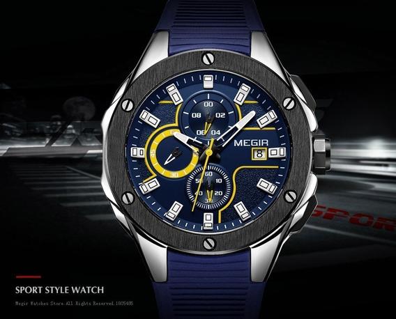 Relógio Megir Cronógrafo Dos Homens Do Esporte Silicone