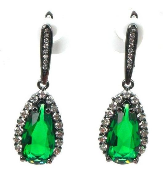 Brincos De Brilhantes Prata Vintage Esmeralda