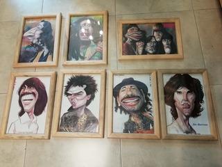 Cuadro Vintage Personajes De Rock Caricatura. Original