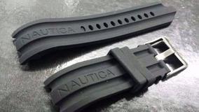 Pulseira Nautica 24mm Preta Silicone