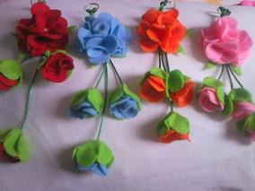 Lembrançinha Chaveiros De Flores Em Feltro Pacote Com 10