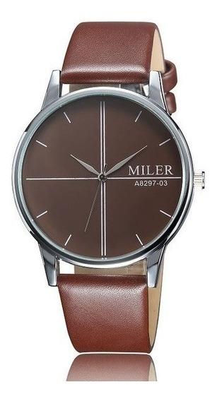Relógio De Pulso Miler A8297-03 Clássico Masculino Original