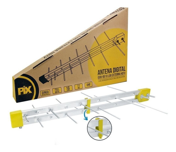 Antena Hdtv Externa Log 16 Elementos Para Tv - Mega Oferta