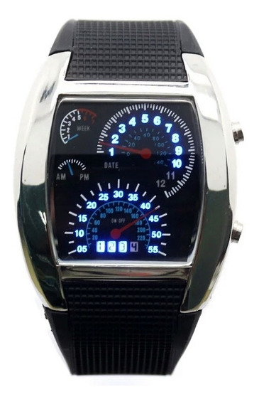 Relógio Velocímetro Led De Pulso Masculino Digital Preto