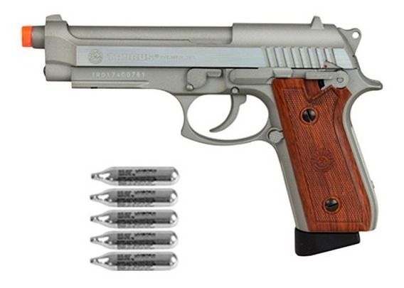 Pistola Airsoft Taurus Pt92 Hairline Silver Metal Gbb + Co2