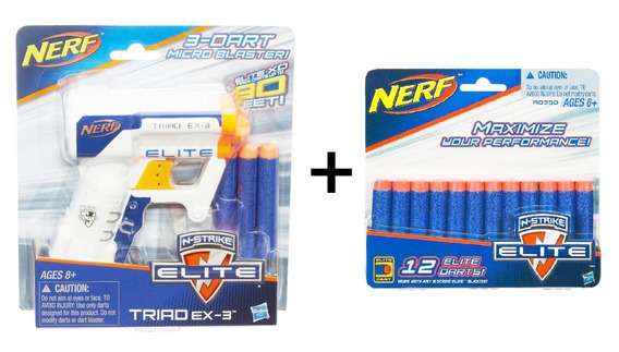 Lança Dardo Nerf Elite Triad Ex-3 + Refil 12 Dardos Hasbro
