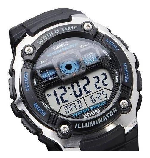 Relógio Masculino Casio Digital Preto Com Prata Ae-2000w-1av