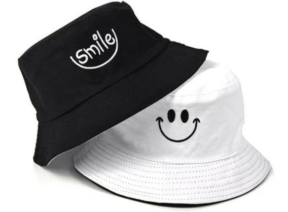 Boné Chapéu Bucket Smile Sorriso Dupla Face 2 Opções D Cores