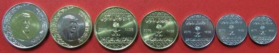Arabia Saudita Set 7 Monedas 2016 Unc Sin Circular Bimetalic