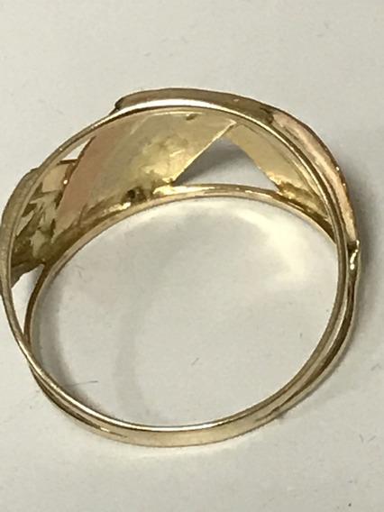 Anel Em Ouro Amarelo E Branco, Peso: 2 Gr, Aro: 17