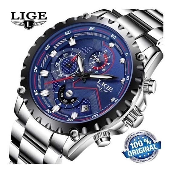 Relógio Lige 9821 Masculino Quartzo, Luxo Original Na Caixa!