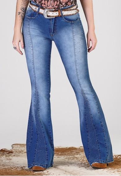 Calça Jeans Feminina Max Flare Minuty Country Bordada Com Pedraria 19542