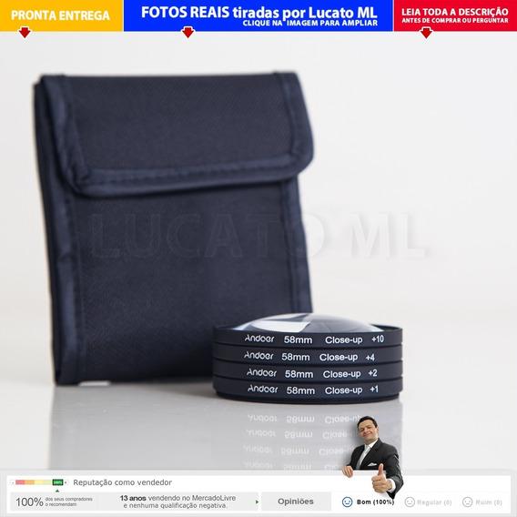 Kit Filtro Macro 58mm + 1x 2x 4x 10x Closeup (até 17x) | 2a