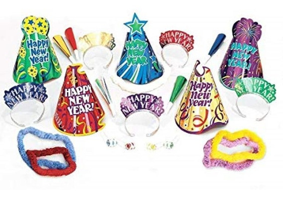 Kit Fiesta Año Nuevo Lets Party Colores Animación Gorro P 10