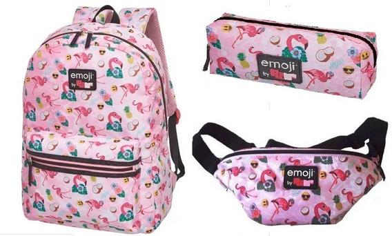 Mochila Emoji By Pack Me Flamingo Estojo E Pochete Original