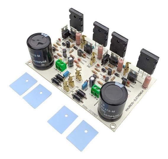 Placa Amplificador 200w Rms Estereo C/ Fonte 2sc5200/2sa1943