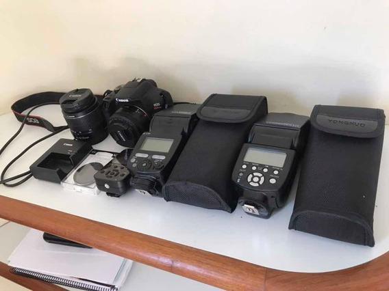 Kit Fotográfico - Canon T6 + 2 Lentes + Flash E Rádio Flash