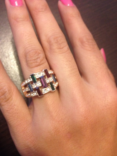 Anillo Multicolor Grande Swarovski Crystals Talla 7 Nuevo