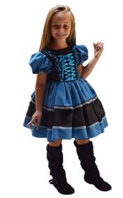 Vestido De Festa Junina Caipira Infantil Luva Fita Cabelo