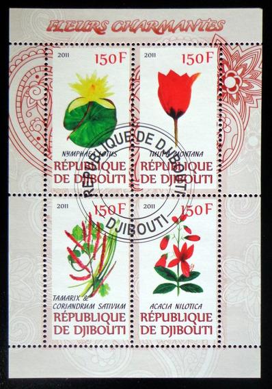 Djibouti Flores, Bloque 4 Sellos 2011 Usado L7008