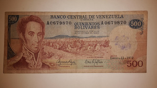 Billete De Bs 500,guri De Coleccion