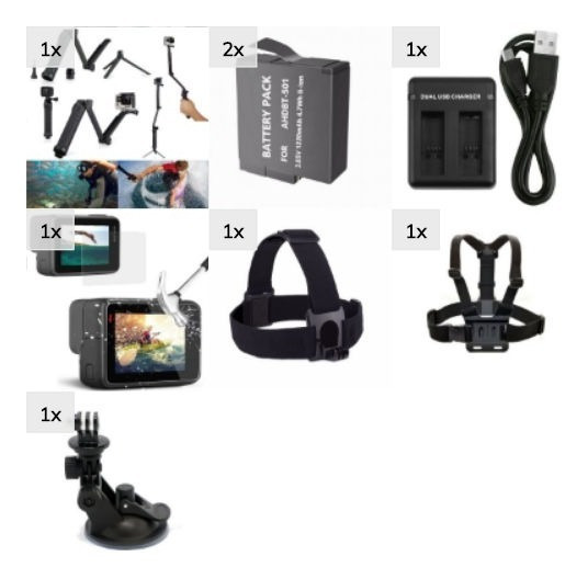 Kit Acessórios Gopro Ventosa Bateria 3 Way Hero 5 6 7 Black