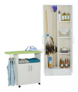 Combo Kit Set Lavanderia Organizador Escobero + Organizador De Planchado Mosconi