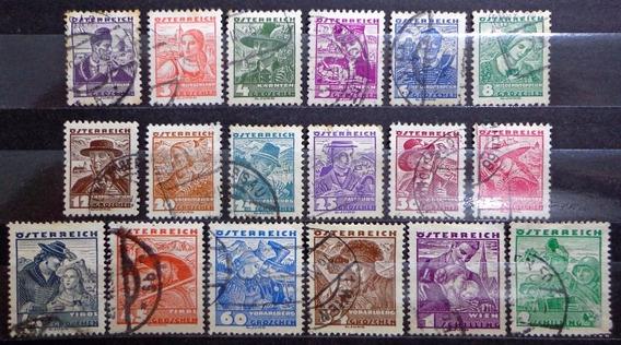 Austria, Serie Yv. 441-58 Costumbres 1934 Usada L10420