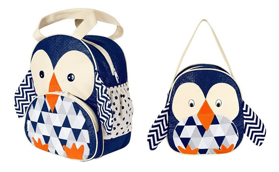 Kit Mochila Infantil Pinguim Zoo P + G - Bebê Escolar