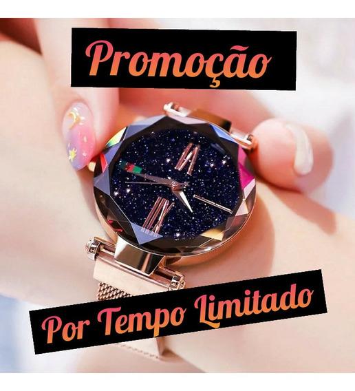 Relógio De Pulso Feminino Céu Estrelado + Caixinha