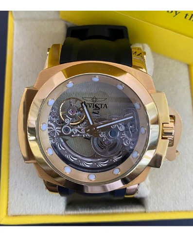 Relógio Masculino Invicta Esqueleto Automático Dourado