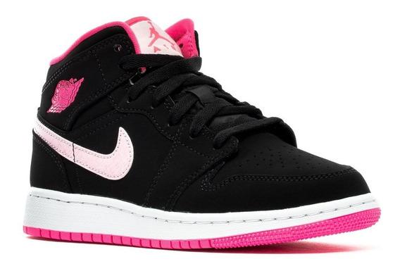 Bota Nike Air Jordan Retro 1 Mid Negro Rosa Dama