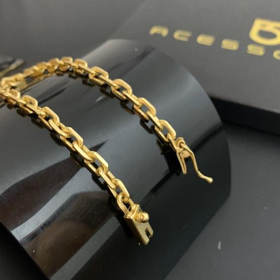 Pulseira Masc 5mm Cadeado Cartier Banhado Ouro 18k Maciça