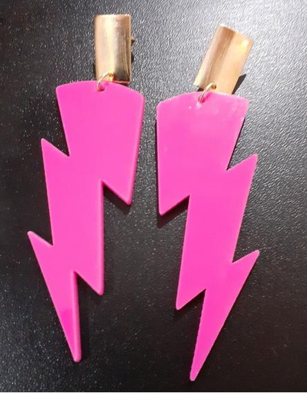 Brincos De Acrílico De Raio Pink Com Base Folheada