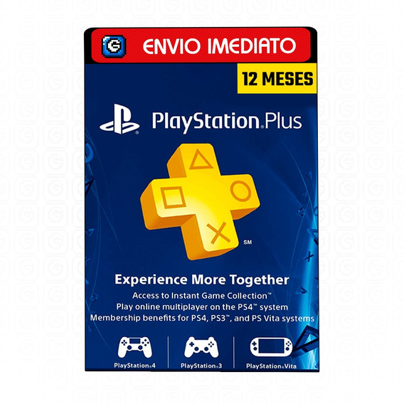 Cartão Playstation Psn Plus Americano 12 Meses Ps3 Ps4