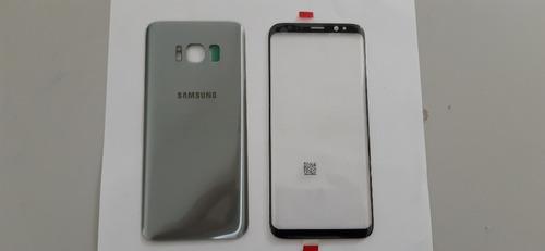 Tampa Traseira + Lente Frontal Galaxy S8 G950 Prata Nova
