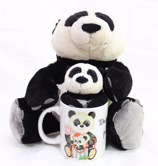 Urso Panda 35cm Com Ursinho 15cm + Caneca Presente Natalino