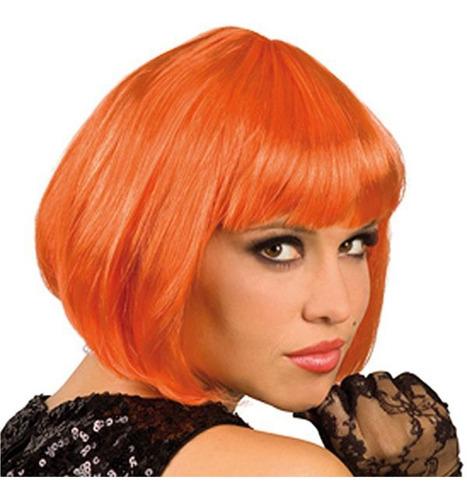 ¡ Peluca Corta Naranja Fantasía Para Fiestas & Halloween !!