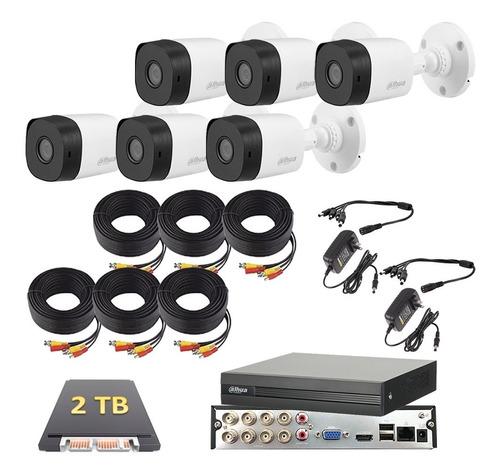 Imagen 1 de 6 de Kit De Video Vigilancia 6 Cámaras 1080p 2mp Dahua 2 Tb
