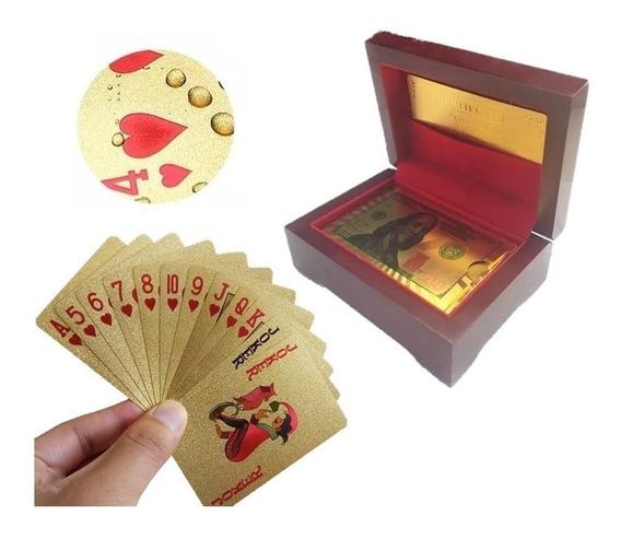 Baralho Dourado Com Caixa Luxo Ouro 24k Folheado Poker Truco