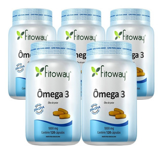 Kit 05 Ômega 3 1000mg 120 Cápsulas