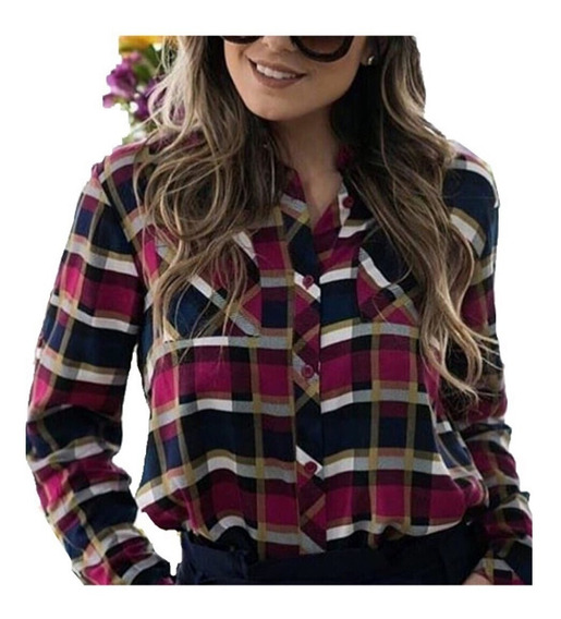 Camisa Xadrez Feminina Em Viscose Blusa Bolsos Importado